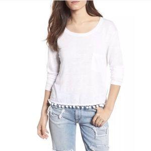 Rails Long Sleeve Shirt Pom Pom Trim Linen Blend